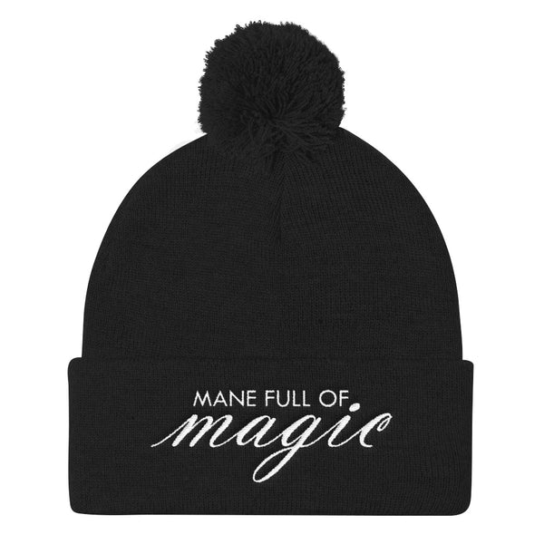 Mane Full Of Magic Pom Pom Knit Beanie, Black