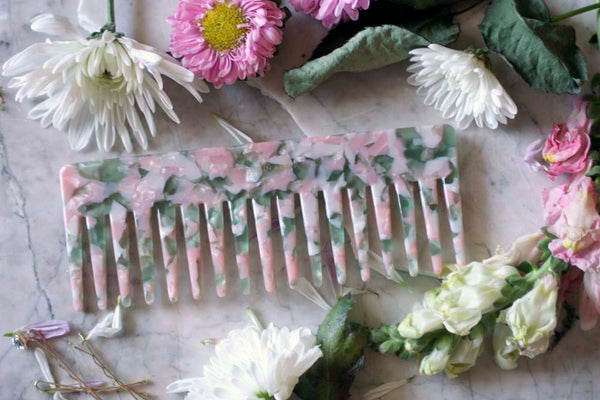 Pink/Green Granite Wide Tooth Comb