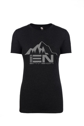 Women's Black Short Sleeve EN-Mountain Round Neck T-Shirt - WeAreEN