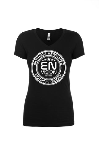 Women's Black Short Sleeve EN-Circle V-Neck T-Shirt - WeAreEN
