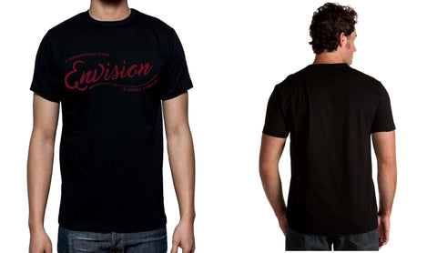 Men's Black Short Sleeve ENVISION-Cursive T-Shirt - WeAreEN
