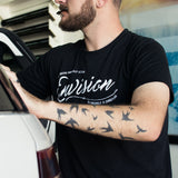 Men's Black Short Sleeve ENVISION-Cursive T-Shirt (3-Entries) - WeAreEN