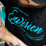 Men's Black Short Sleeve ENVISION-Cursive T-Shirt