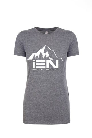Women's Heather Gray Short Sleeve EN-Mountain Round Neck T-Shirt - WeAreEN