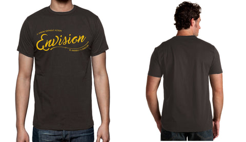 Men's Gray Short Sleeve ENVISION-Cursive T-Shirt - WeAreEN