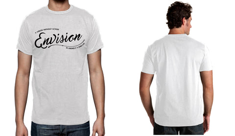 Men's White Short Sleeve ENVISION-Cursive T-Shirt - WeAreEN