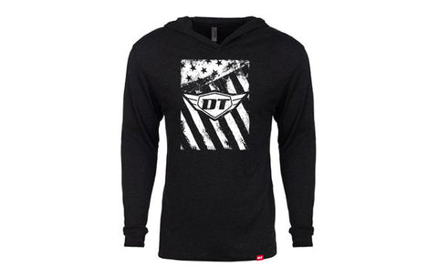 DT Distressed Flag Hooded Long Sleeve T-Shirt