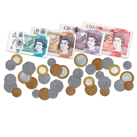 UK Play Money - Assortment Coins and Notes  (Set of 96)