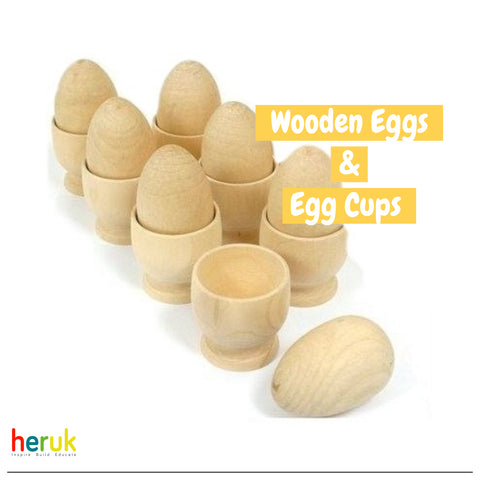 6 Play Wooden Eggs & Wooden Egg Cups