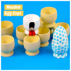 Plain Wooden Egg Cups - Set of 10