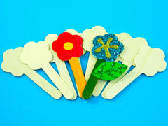 Wood Craft Sticks - Flowers (10) 12cm