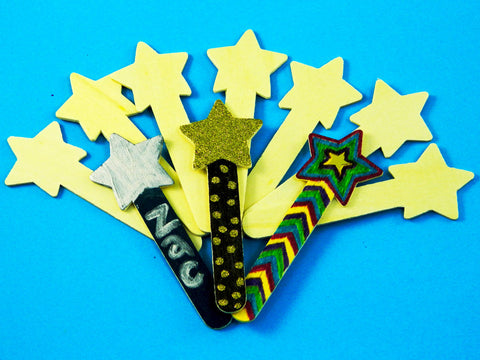Wood Craft Sticks - Stars (10) 13cm