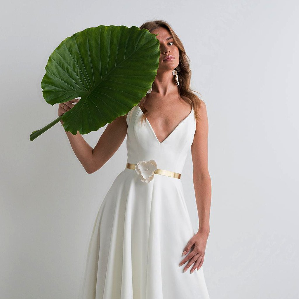 Minimal Bridal Belt with Maxi Pensamiento