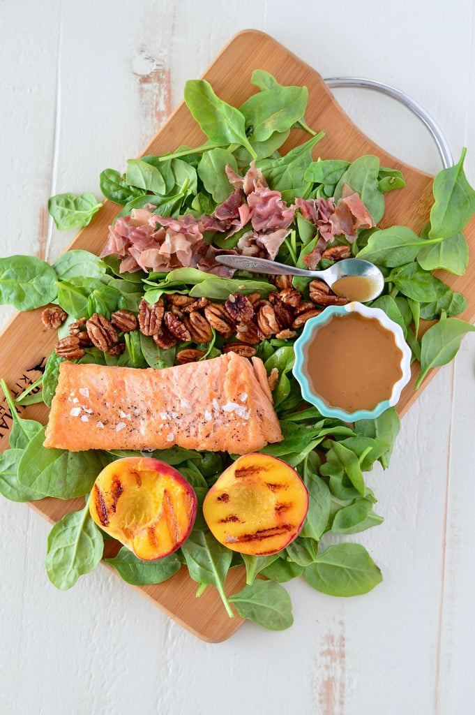 Grilled Peach Salad with Prosciutto & Candied Pecans