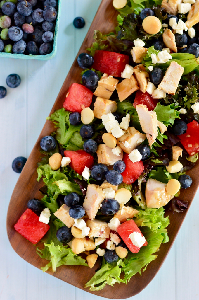 Watermelon, Feta & Blueberry Salad with Honey Balsamic Grilled Chicken