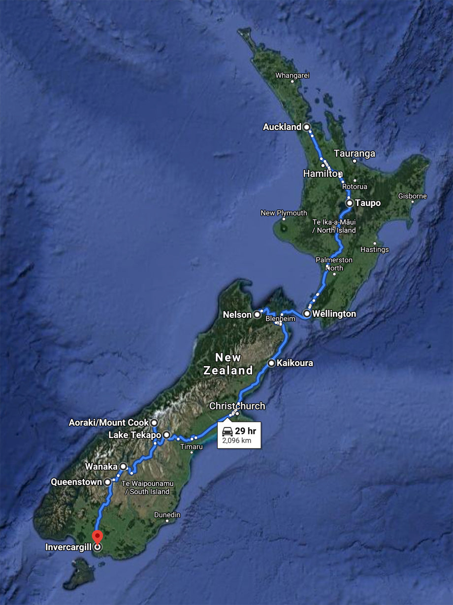 Route Map of Ride Through New Zeland with the Moto Social New Zeland Crew