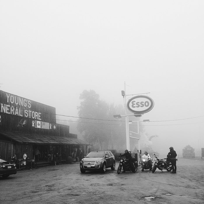 Foggy gas stop in Wawa, ON - had lunch at The Viking, great spot!