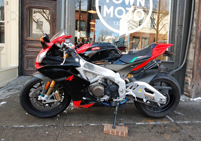 2010 Aprilia RSV4 Factory in front of town moto on 132 ossington ave