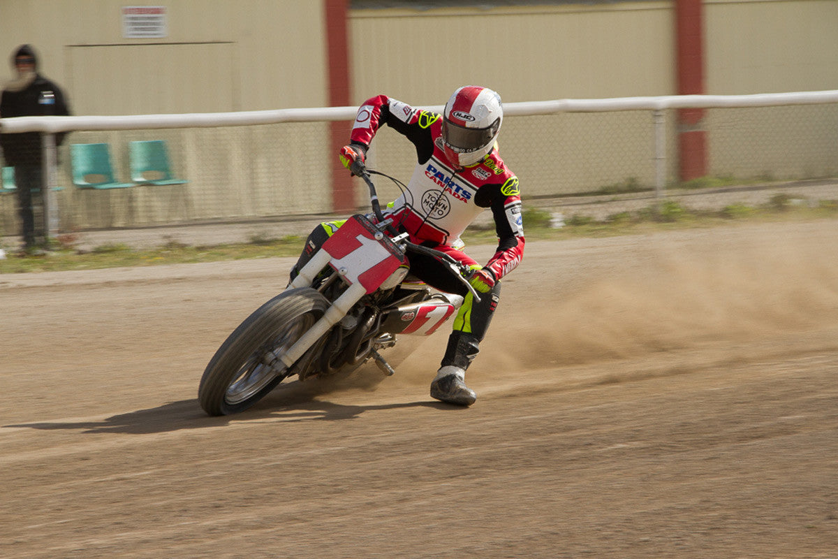 Doug Lawrence #73 racing in the Flat Track Canada Series 2016