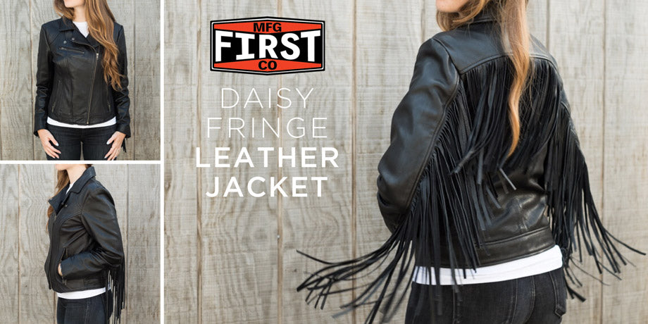First Manufacturing Co. Daisy Fringe Leather Motorcycle Jacket