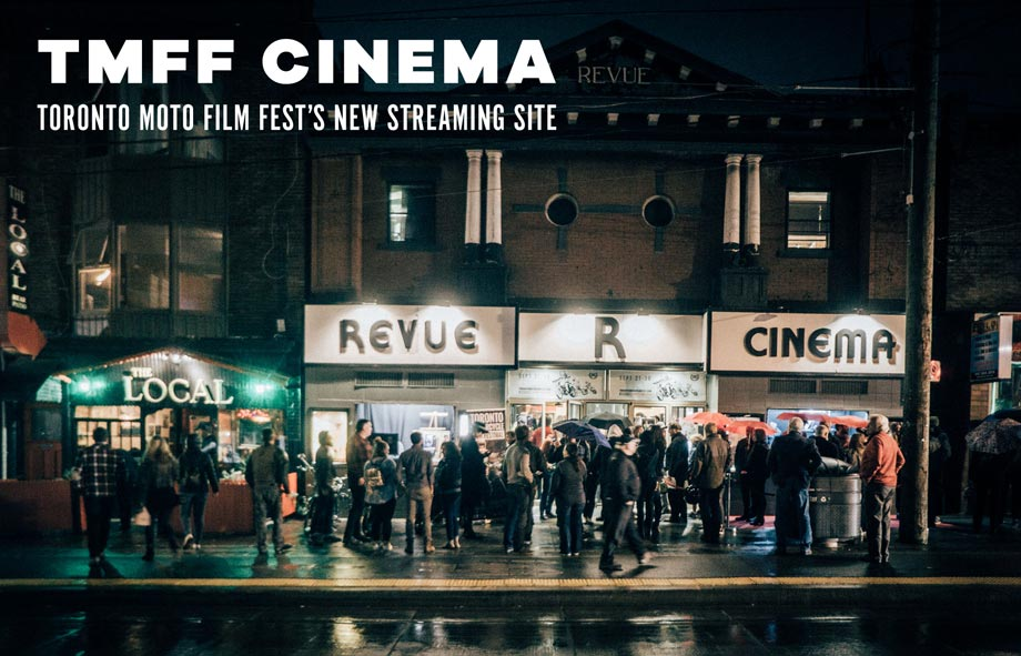 Photo of The Toronto Motorcycle Film Festival outside of the Revue Cinema on Roncesvalle Ave. In Toronto, Ontario