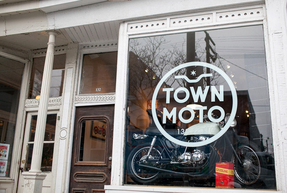 Town Moto 9 year blog post, Front Window