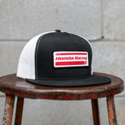 Front View of Factory Effex x Honda Racing Hat in Black and Red With Logo Patch