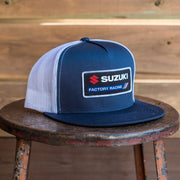 Front View of Officially Licensed Factory Effex x Suzuki Factory Hat in Navy and White