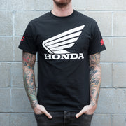 Front View of Man Wearing Honda Racing Official Big Wing T-Shirt