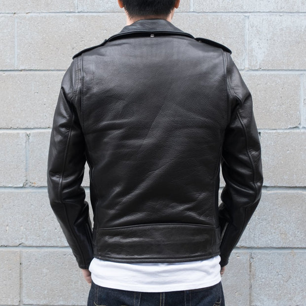 Back View of Man Wearing Schott 519 Waxy Natural Cowhide Leather Perfecto Motorcycle Jacket in Black