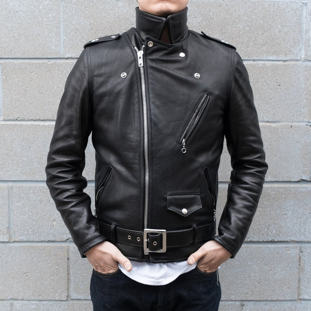 Front View of Schott 519 Waxy Natural Cowhide Leather Perfecto Motorcycle Jacket Fully Zipped