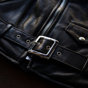 Belt and Buckle of Schott 519 Waxy Natural Cowhide Leather Perfecto Motorcycle Jacket in Black