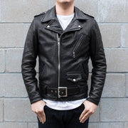 Front View of Man Wearing Schott 519 Waxy Natural Cowhide Leather Perfecto Motorcycle Jacket in Black