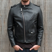 Frontal Profile of Man Wearing Schott Steerhide Cafecto Leather Motorcycle Jacket in Black with ZIpper Done Up