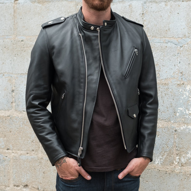 Schott Steerhide Cafecto Leather Motorcycle Jacket in Black Front View