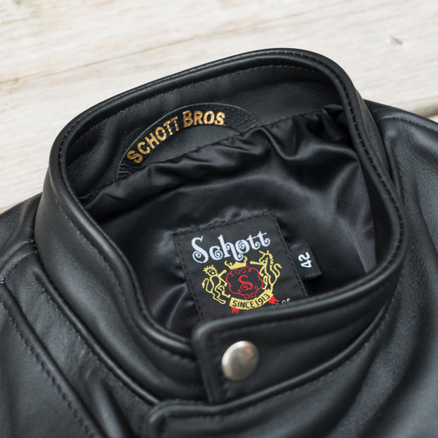 Schott Steerhide Cafecto Leather Motorcycle Jacket in Black Collar Detail