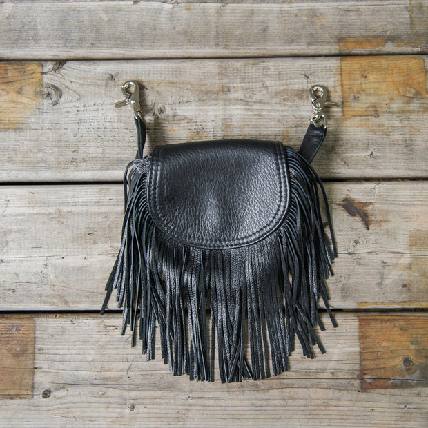 Talisman Fringe Leather Hip Bag, Black, Main
