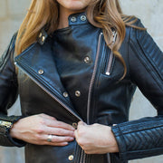 First Womens Warrior Jacket, front detail, Black