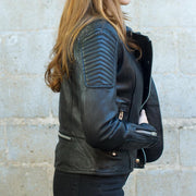 First Womens Warrior Jacket, side detail, Black