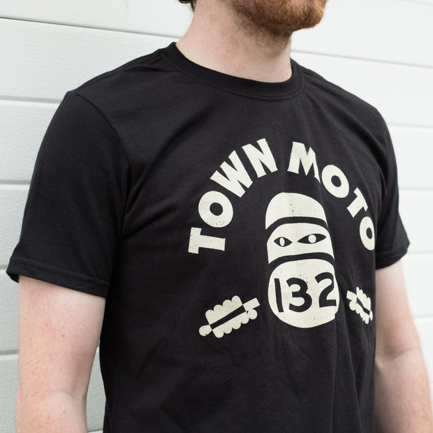 Town Moto Racer T-Shirt - Black (chest)