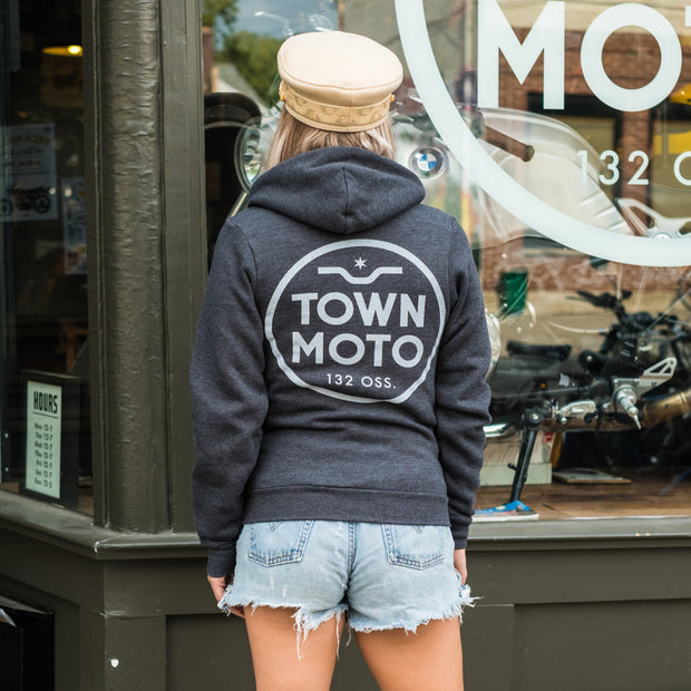 Town Moto Unisex Logo Zip Up Hoody on woman - rear view