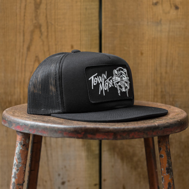 Front 3/4 View of Town Moto x Stay Outside Racoon Ripper Hat in Black