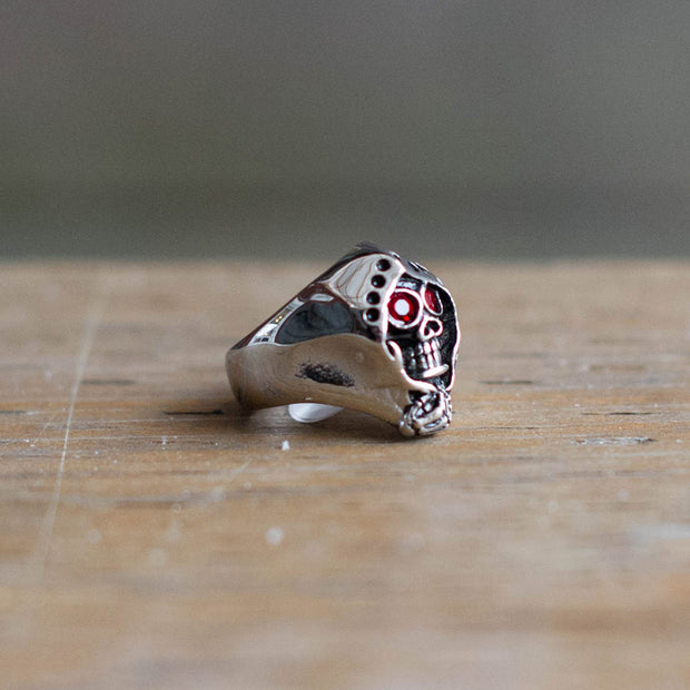 Grim Reaper w/ Red Eyes Ring, Silver, Main