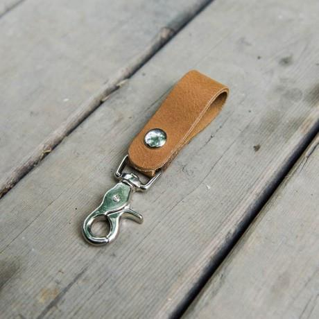 Talisman Classic Loop Leather Keychain in Brown