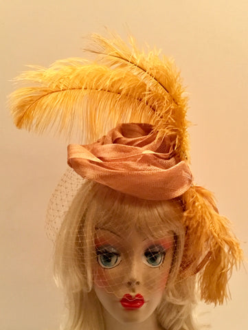 """GOLDY"" Gold flower sinamay Fascinator with gold ostrich feathers."