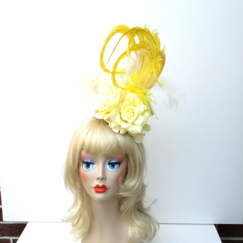 """OLIVIA"" Fascinator with yellow flowers and feathers"