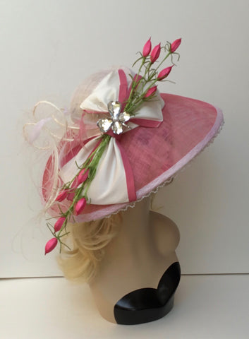 """CLARISE"" PINK & WHITE HAT with Bow"