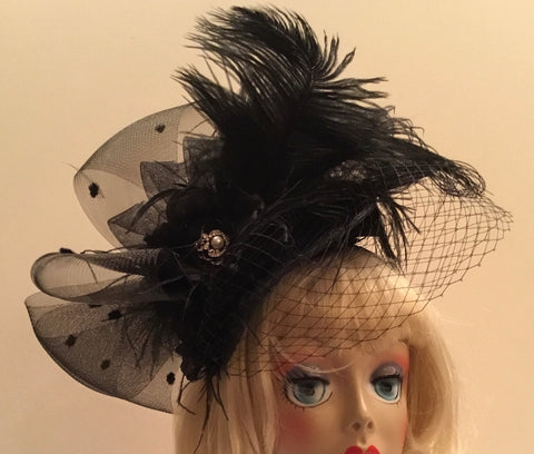 """JEAN"" black fascinator sinamay bows and ostrich feathers"