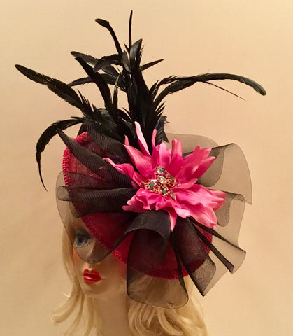 """SISSY"" Sassy hot pink saucer Fascinator  black coque feathers"