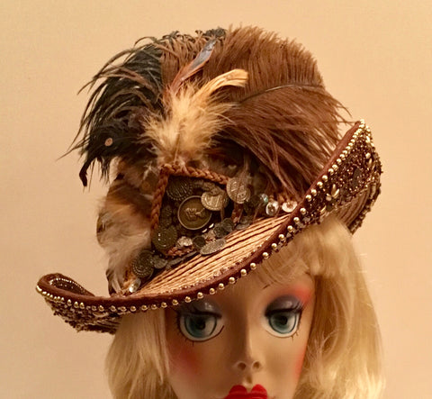 """CONNIE"" Couture Brown Cowboy Hat loaded with lots of bling & feathers"